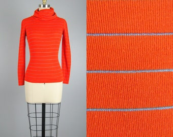 Vintage 1960s Orange Sweater 60s Fitted Turtleneck Sweater with Silver Pinstripes Size S