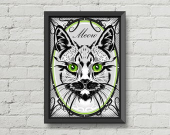 Meow,Cat illustration,pet,animal,poster,digital print,artwork,black,gray,green,eyes,vector