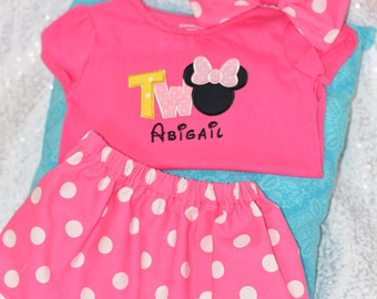 Adorable Two 2nd Birthday Minnie Outift- Shirt, Bow and Coordinating Pink Polka dot Skirt