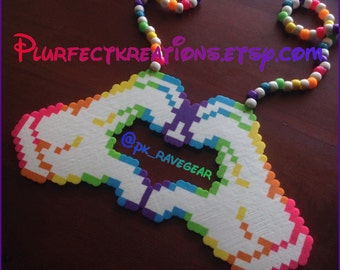 Multi-Colored Hand Heart Perler Necklace