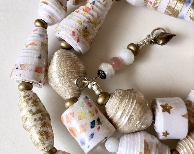Celebrate - wrap one  a kind paper bead bracelet
