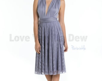 Bridesmaid Dress Infinity Dress Periwinkle Lace Knee Length Wrap Convertible Dress Wedding Dress