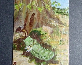 Original Aceo Painting  Day Dreaming Caterpillar Ships Free