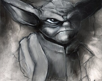 Star Wars Yoda star wars Jedi rebel charcoal drawing pastel giclée print 8x10 rebel scum sci fi art vader wall decor black and white