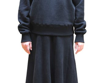 Casual Cropped Cotton Sweatshirt and Stretch High Flared Cotton Long Skirt Set