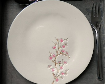 Cherry Blossom Ceramic Side Plate Pink Brown Pastel  Dessert Plate Unique Rustic Hand Bild Ceramic Serving Plate