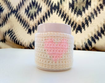 CROCHET PATTERN: Tea Mug Cozy with heart, Mug Cozy Pattern, Coffee Cozy Pattern, Cup Cozy Pattern, Mug Warmer, Cup Sleeve Pattern, Tea Cozy