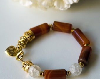 Big Carnelian and white Quartz ridgid bracelet (0071)