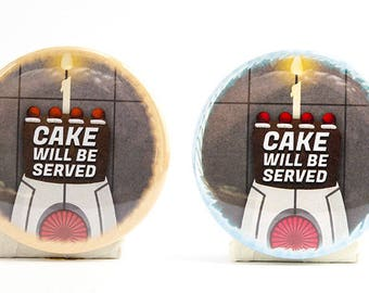 "Cake Will Be Served Buttons 2.25"" Pinback Button badges- scifi videogame inspired Happy Birthday robot buttons"