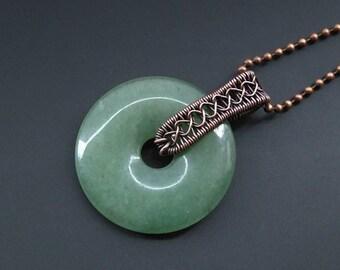 Aventurine Pendant, Wire Jewellery, Copper Pendant, Wire Wrapped Pendant, Copper Jewellery, Donut Pendant, Boho Jewellery, Handmade Jewelry