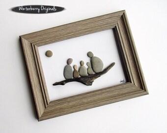 "Pebble Art: Family of 5 on Driftwood- 7.5"" by 9.5"" rustic frame, original wall art, nature art, family of five art, housewarming gift,framed"
