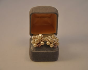 1950's Pearl and Crystal Cluster Earrings