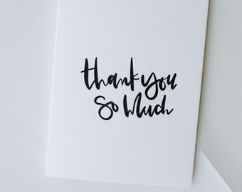 thank you so much-- letterpress thank you card