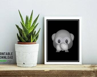 Speak No Evil Monkey - Digital Print for Instant Download