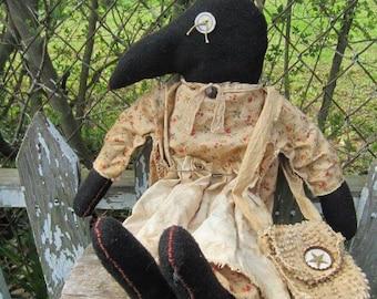 CROW DOLL OOAK~ Made To Order~ Primitive Folk Art~ ~ Rustic~ Farmhouse~  Black Crow~ Primtive Art Doll~ Wall Hanger~ Shelf Sitter~