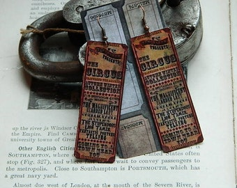 Circus earrings Circus jewelry Victorian circus Circus poster mixed media jewelry