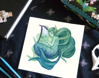Original Watercolor Painting 'The Mermaidsong' - Magical Mermaid Fantasy Art