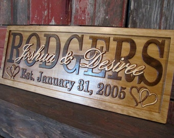 Personalized Wedding gift  Family Name Signs CARVED Custom Wooden Sign Last name Established Anniversary custom personalized sign
