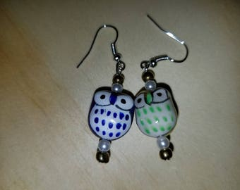 Blue and yellow owl earrings