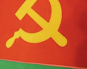 Rare Moldavian SSR flag, vintage red green flag Soviet Moldova, red green flag with hammer, sickle, Star, Communism soviet symbols, ONLY ONE