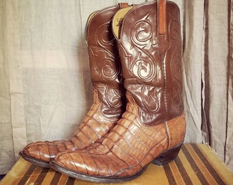 Lucchese Men's Hornback Caiman Tail Exotic Boots Handmade size 13 AMAZING.
