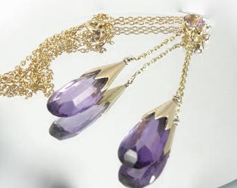 Neglected gold 750 thousandths and Amethyst necklace