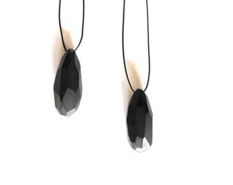 Faceted pendant ebonized wood large statement jewelry pendant
