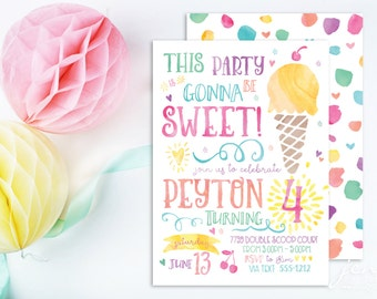 Ice Cream Invitation | Ice Cream Party | Ice Cream Birthday | Ice Cream Invite | Birthday Invitation | Ice Cream | Summer Invitation
