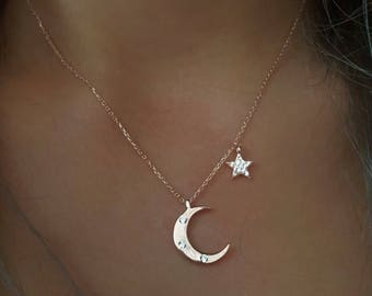 Beautiful Moon and Star Necklace Sterling Silver cz.925