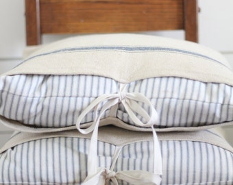 Grain Sack and Ticking Stripe Pillow Cover Set, Available in Blue, Tan and Black