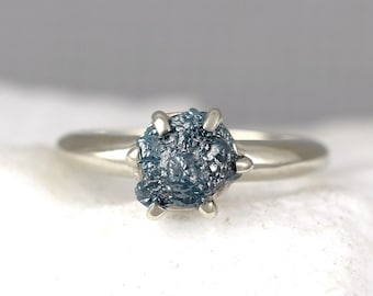 Blue Raw Diamond Engagement Ring - 14K White Gold - Rough Diamond Gemstone Ring  - April Birthstone-Anniversary Ring-Conflict Free-Ethical
