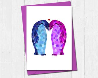 Personalised penguin valentines day card, Penguin lover card, Valentines card for boyfriend girlfriend, Cute penguin anniversary card