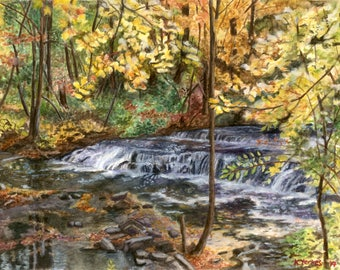 Watercolor Giclee Print, Fall watercolor landscape, autumn landscape, waterfall picture, waterfall painting, autumn leaves, yellow leaves