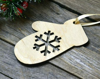Christmas ornaments Wooden mitten set of 10 pieces Christmas decor natural wood unpainted Wooden supplies