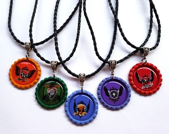 College of Wizardry House Crest Bottle Cap Necklace