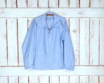 Mens 60s vintage blue/white cotton canvas jacket/lightweight wind breaker jacket/44 regular
