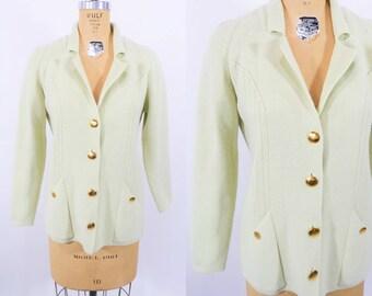 "1960s mint cardigan   mint green gold button knit sweater   vintage 60s cardigan   W 35"""