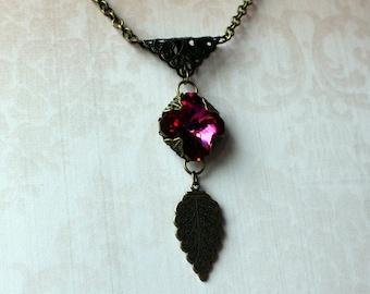 Swarovski Crystal Necklace in Vintage Style and Bronze Metalics