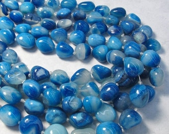 SALE Ocean Blue Chalcedony Oval Nugget Beads, 21mm To 20mm , 15 Inches