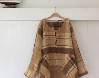 ON SALE Woollen Windcheater Womens Cardigan Ketigan in brown check Wool Style Dipped Hem medium size M-L