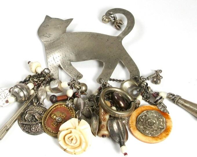 Repurposed Cat Pin; Charm Pin; Cat Charm Pin; Cat Pin; Kitty Cat Pin; Signed Cat Charm Pin