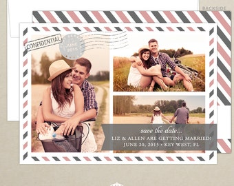 FREE SHIPPING - Vintage Travel Photo Save the Date - Travel Theme Wedding Save the Date - Personalized Save the Date - Destination Wedding