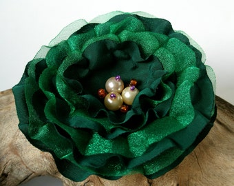 Dark Green Flower Hair Clip  | Gentle Emerald Floral Hair Pin | Fabric Flower Hair Accessory | Fabric Flower Brooch