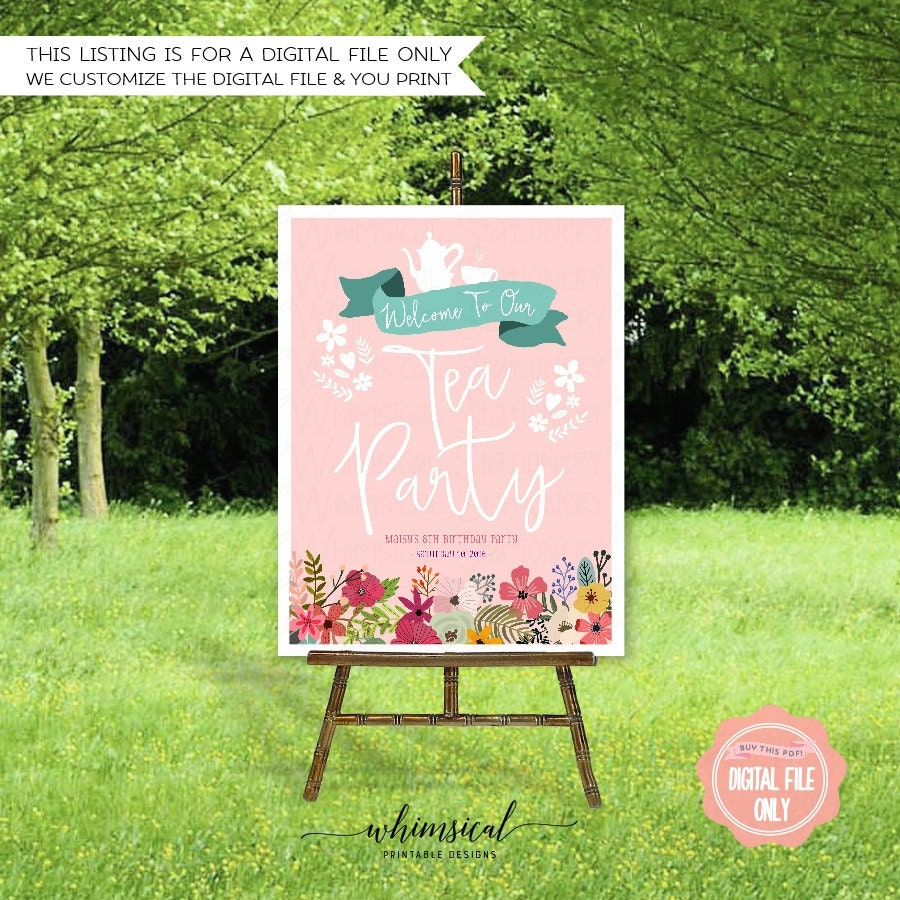 Birthday Party Welcome Sign Floral Tea Printable