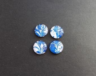 Set of 4 20 mm glass retro blue flower cabochons