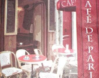 PARIS - PARIS CAFE Theme paper towel. 33 cms