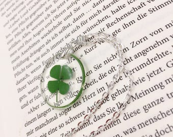 Shamrock in resin chain necklace silver lucky charm