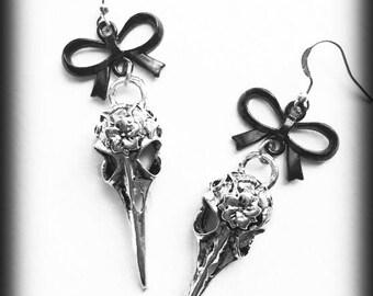 Bird Skull Earrings, Crow Skull Earrings, Gothic Earrings, Raven Skull Earrings, Antique Silver, Gothic Jewelry, Alternative Jewelry