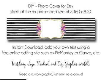 DIY Etsy Cover Photo - Add your own Text, Instant Download, Oh Carolina 2 Alternate, New Cover Photo For Etsy, Made to Match Graphics
