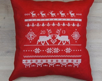 Cross stitch pattern REINDEER  scandinavian christmas,christmas pillow,christmas cross stitch,needlepoint,swedish,diy,red,anette eriksson